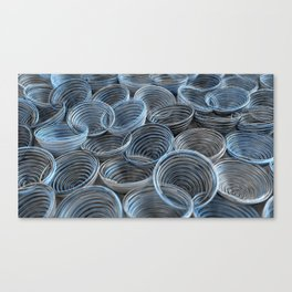 Black, white and blue spiraled coils Canvas Print