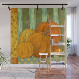 Five Pumpkins Wall Mural