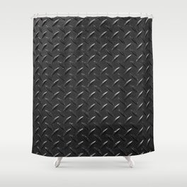 fluted metallic texture in black color Shower Curtain