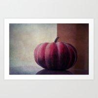 pumpkin Art Prints featuring pumpkin by Claudia Drossert