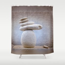 Balance Stone, Affirmations in the back Shower Curtain