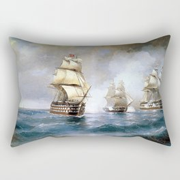 Brig Mercury Attacked by Two Turkish Ships Rectangular Pillow