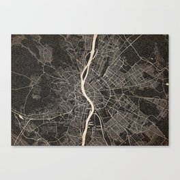budapest map ink lines Canvas Print