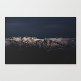 Dreamy sunset on the mountain top Canvas Print