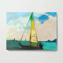 Night Sailing  -  Sailboats Metal Print