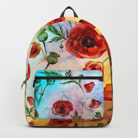 Poppy LOVE pattern- Poppies and Flowers on colorful watercolor background  on #Society6 Backpack