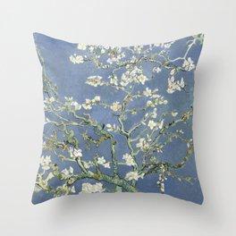 Almond Blossom - Vincent Van Gogh (blue pastel) Throw Pillow