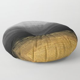 Black and Gold grunge stripes on modern grey concrete abstract background - Stripe -Striped Floor Pillow