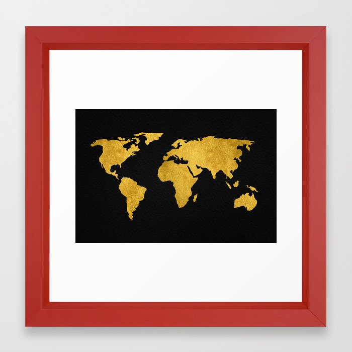 Metallic gold foil world map on black framed art print by mapmaker metallic gold foil world map on black framed art print by mapmaker society6 gumiabroncs Choice Image