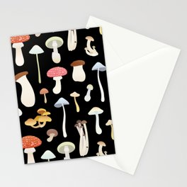 Dreamy Mushrooms Pattern in Black  Stationery Cards