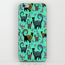 Blue Snobby Cocktail Cats iPhone Skin