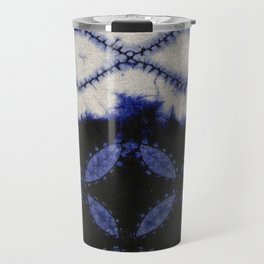 V42 Dark Blue Traditional Moroccan Texture Travel Mug