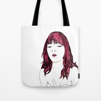 redhead Tote Bags featuring Redhead by Margret Stewart