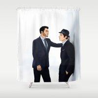 sterek Shower Curtains featuring Sterek White Collar AU by Finduilas