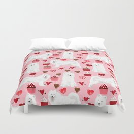 Samoyed valentines day dog portrait cute puppy dogs hearts love valentine for dog person Duvet Cover