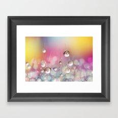 Cactus Rainbow Drops Framed Art Print