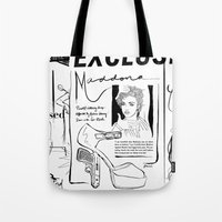 scandal Tote Bags featuring Material Girl Scandal by CLSNYC