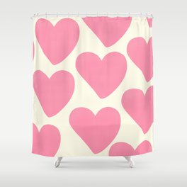 Pink Hearts on Pale Yellow Shower Curtain