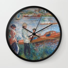 Oarsmen at Chatou Painting by Auguste Renoir Wall Clock