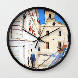 Borrello: foreshortening with man and church Wall Clock