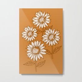 Copper Sunflowers Metal Print