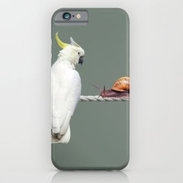 Cockatoo with Snail on Rope iPhone Case