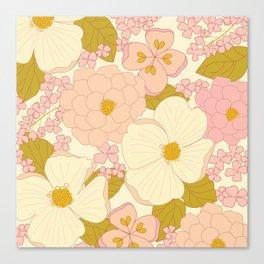 Pink Pastel Vintage Floral Pattern Canvas Print