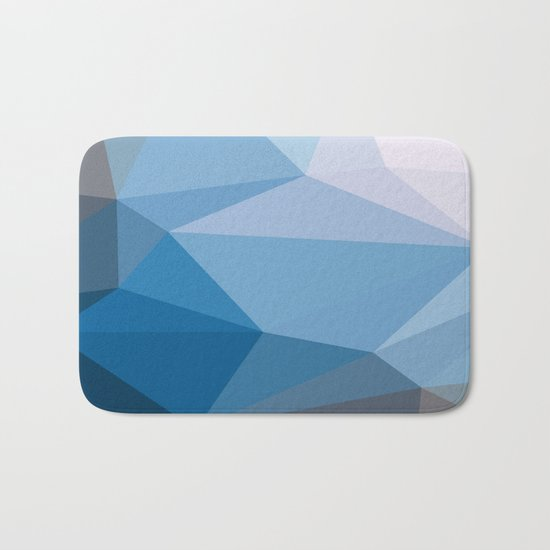 Shades Of Blue Triangle Abstract Bath Mat