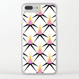 Pink, Yellow and Black Abstract Thistles Clear iPhone Case
