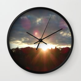 Here Comes the Sun Over The Darken Trees Wall Clock