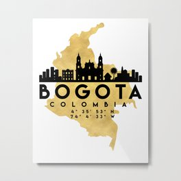 BOGOTA COLOMBIA SILHOUETTE SKYLINE MAP ART Metal Print