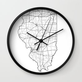 Illinois White Map Wall Clock