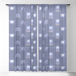 Video game joy stick repeat pattern with purple background Sheer Curtain
