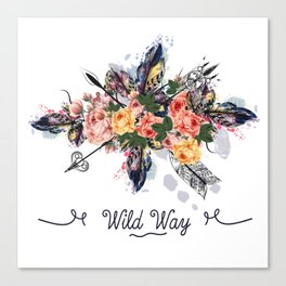 Art boho design with arrows, feathers and flowers. Wild way Canvas Print