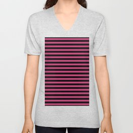 Across striped black and dusty pink background Unisex V-Neck