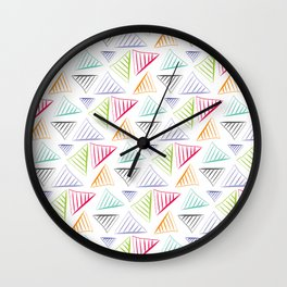 colorful triangles pattern Wall Clock