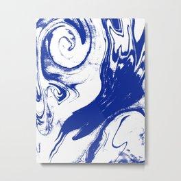 Marble blue 1 Suminagashi watercolor pattern art pisces water wave ocean minimal design Metal Print