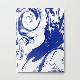 Marble blue 1 Suminagashi watercolor pattern art pisces water wave ocean minimal design Metal Print