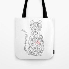 Black Cat on White World Tote Bag