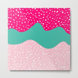 Modern neon pink turquoise blush ice cream color block geometric hand drawn pattern Metal Print