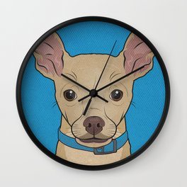 Icons of the Dog Park: Chihuahua Design in Bold Colors for Pet Lovers Wall Clock