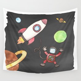 Astronaut in Space Wall Tapestry