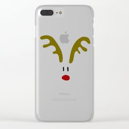 Christmas Red Nose Reindeer Clear iPhone Case