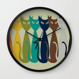 mid-mod cats Wall Clock