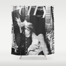 NYC Editorial Collage Black & White Shower Curtain