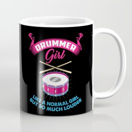 Funny Drummer Girl Music Silence Band Drumming Marching Band Percussion Percussionist Gift Coffee Mug