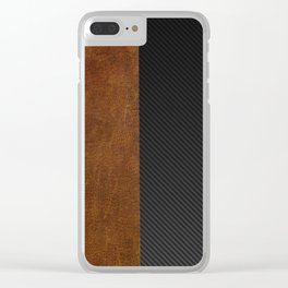 Carbon Leather Mix Clear iPhone Case