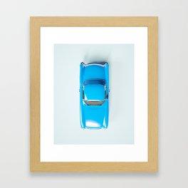 Vintage Blue Car on White Framed Art Print