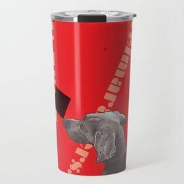 Constructivist Weimaraner Balancing Black Cube Travel Mug