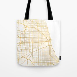 CHICAGO ILLINOIS CITY STREET MAP ART Tote Bag